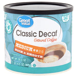 Great Value Classic Decaf, Medium Ground Coffee, 30.5 oz - Water Butlers