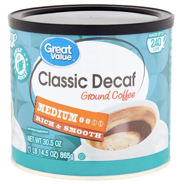 Great Value Classic Decaf, Medium Ground Coffee, 30.5 oz