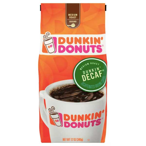 Dunkin' Donuts Medium Roast Ground Coffee - Decaf, 12 oz - Water Butlers