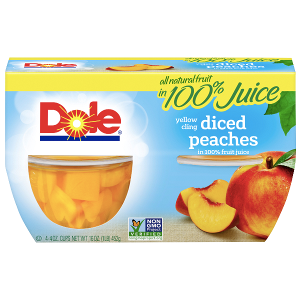 Dole Fruit Bowls, Diced Peaches, 4 Cups - Water Butlers