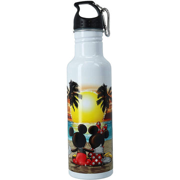 Disney Mickey & Minnie Mouse Sunset Aluminum Water Bottle with Carabiner Hook