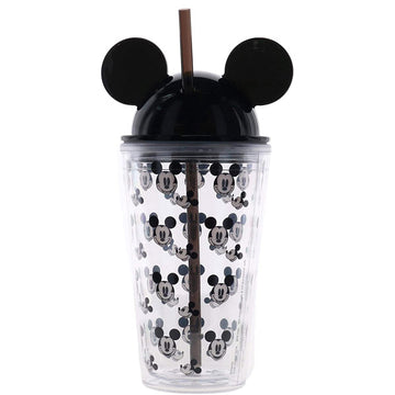 Happy Mickey Multi Faces Ear Tumbler, Black, 16 Ounce