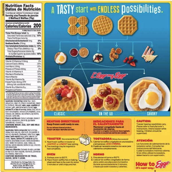 Kellogg's Eggo Chocolatey Chip Frozen Waffles, 24 Ct - Water Butlers