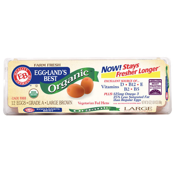 Eggland's Best Organic Large Brown Grade A Eggs, 12 Ct - Water Butlers
