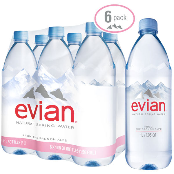 Evian Natural Spring Water, 33.8 Fl. Oz., 6 Count - Water Butlers