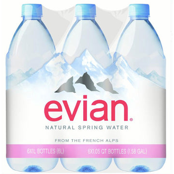 Evian Natural Spring Water, 33.8 Fl. Oz., 6 Count