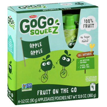 GoGo squeeZ Applesauce Apple 3.2oz, 4 Ct