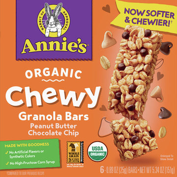 Annie's Organic Chewy Peanut Butter Chocolate Chip Granola Bar, 6 Ct