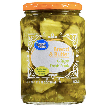 Great Value Bread & Butter Pickle Chips, 24 fl oz