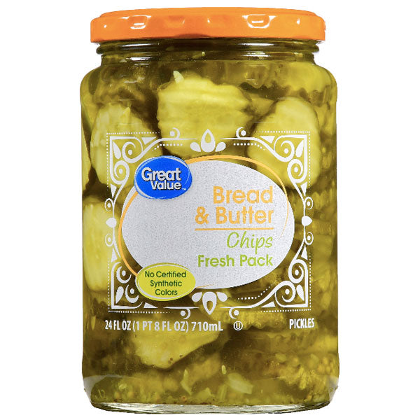 Great Value Bread & Butter Pickle Chips, 24 fl oz - Water Butlers