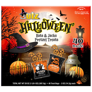 Utz Halloween Pretzel Box, Bat and Pumpkin Shaped Pretzels, 40 Ct