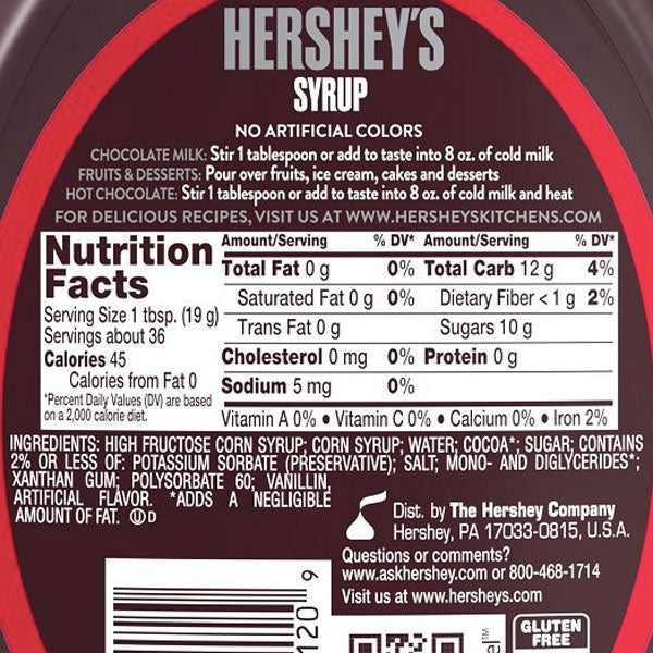Hershey's Chocolate Syrup, 24oz - Water Butlers