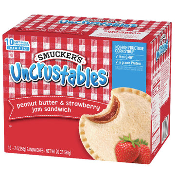 Smucker's Peanut Butter Strawberry Jam Uncrustables Sandwich, 10 Ct