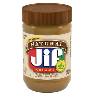 Jif Natural Low Sodium Creamy Peanut Butter, 16 oz