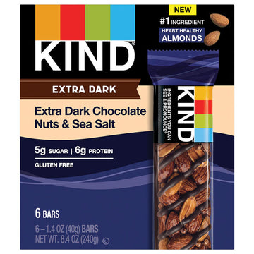 KIND Bars, Extra Dark Chocolate Nuts & Sea Salt, 6 Count