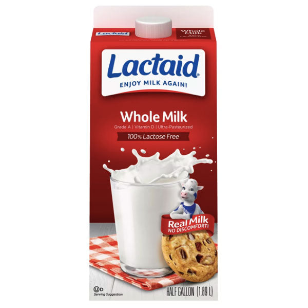LACTAID 100% Lactose Free Whole Milk, Half Gallon - Water Butlers