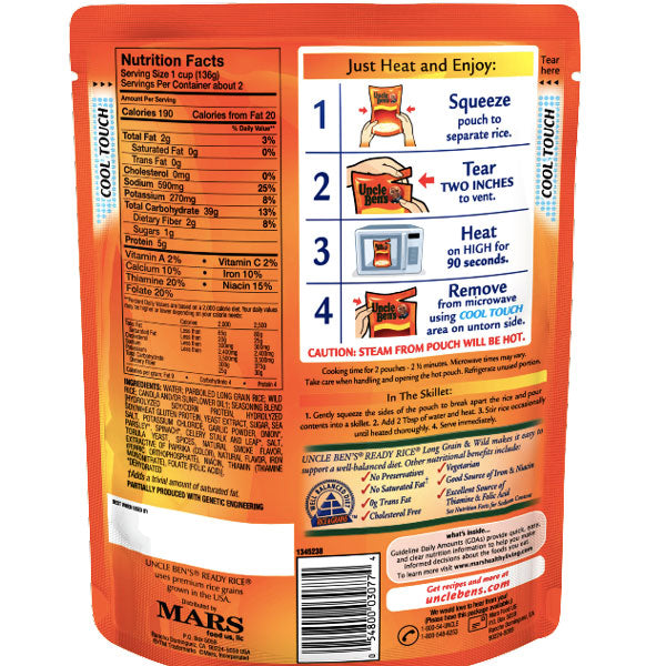 Uncle Ben's Ready Rice, Long Grain & Wild, 8.8oz - Water Butlers