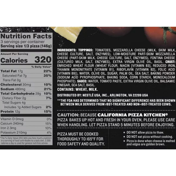 California Pizza Kitchen Crispy Thin Crust Margherita Frozen Pizza, 15.5 oz - Water Butlers