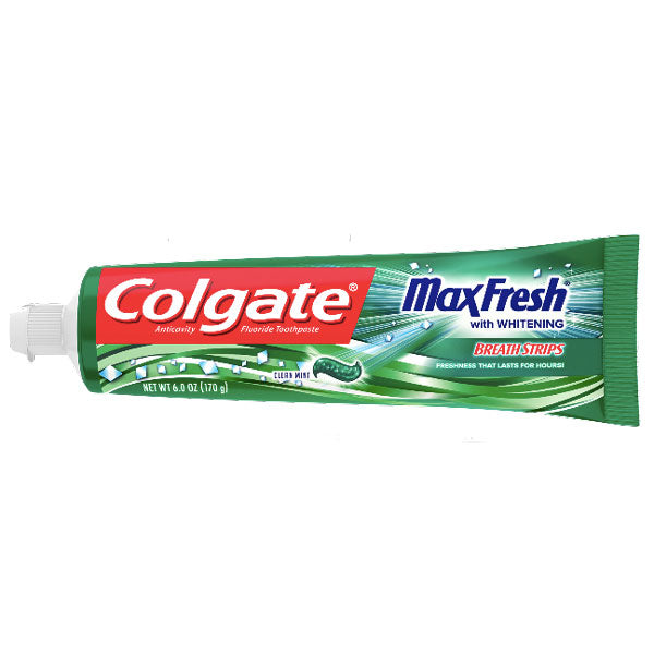 Colgate Max Fresh Toothpaste with Mini Breath Strips, Clean Mint, 6oz - Water Butlers