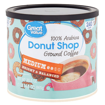 Great Value Donut Shop Ground Coffee, Medium Roast, 30.5 oz