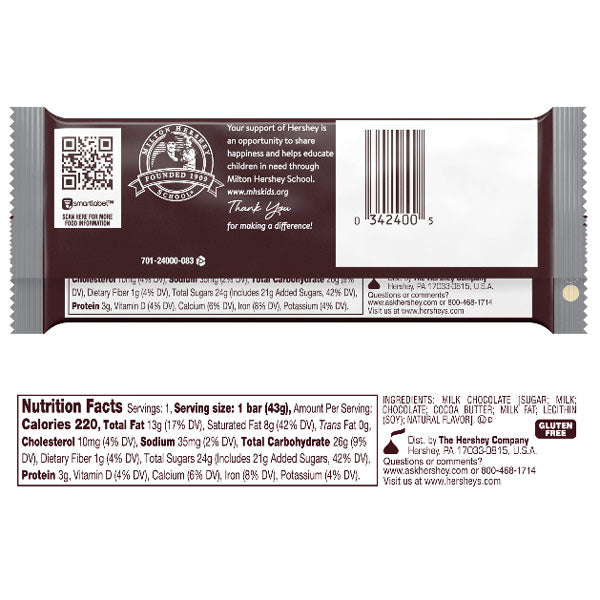 Hershey's Milk Chocolate Bar 1.4oz - Water Butlers