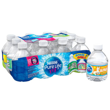 Nestle Pure Life Purified Water, 8 fl oz. Plastic Bottled Water, 12 Ct