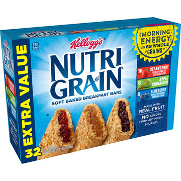 Kellogg's NutriGrain, Soft Baked Breakfast Bars, Extra Value Size, 32 Ct