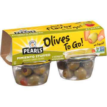 Pearls Pimiento Stuffed Spanish Green Olives To Go, 4 Pack