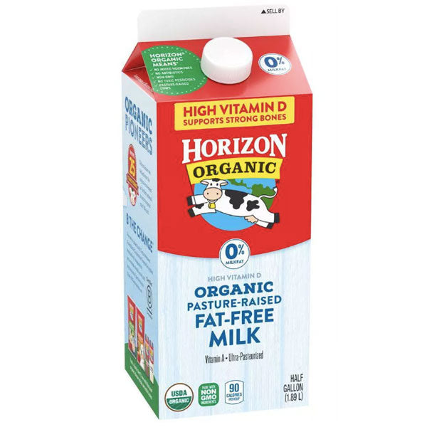 Horizon Organic 0% Fat-Free Organic Milk, Half Gallon - Water Butlers