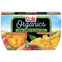 Dole Fruit Bowls, Organics Mango Chunks, 4 Cups - Water Butlers