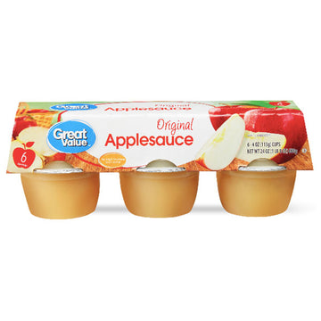 Great Value Original Applesauce, 4 oz, 6 Ct