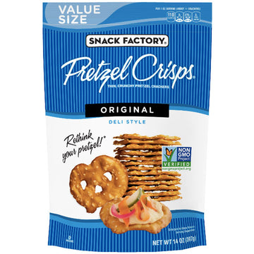 Snack Factory Pretzel Crisps, Party Size - Original, 14 oz