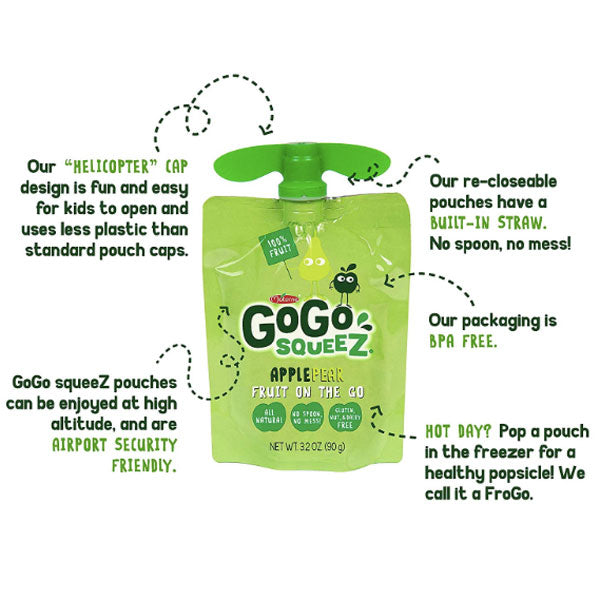 GoGo squeeZ Applesauce Pear 3.2oz, 4 Ct - Water Butlers