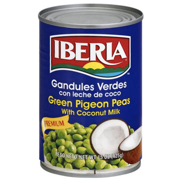 Iberia Premium Green Pigeon Peas with Coconut Milk, 15 oz