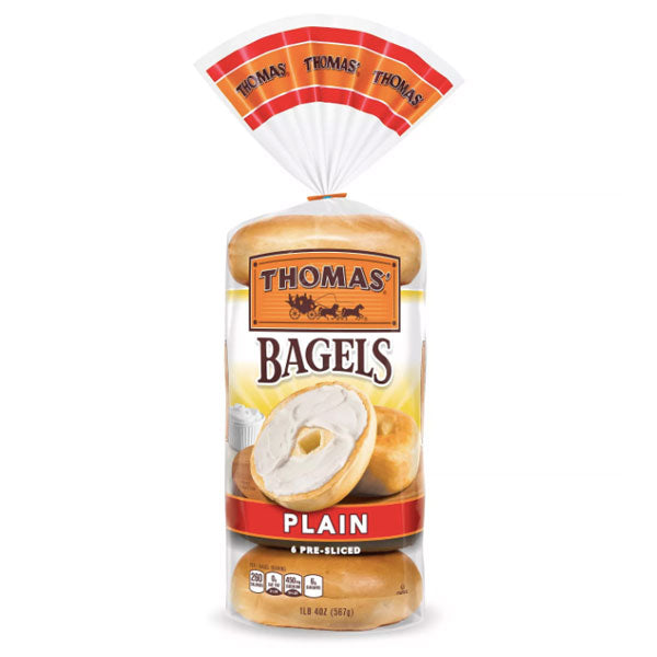 Thomas Bagels, Plain - 6 Ct - Water Butlers