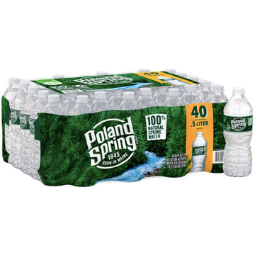 Poland Spring 100% Natural Spring Water, 16.9 fl oz, 40 Count