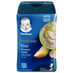 Gerber Single Baby Cereal, Probiotic Rice Banana Apple - 8oz - Water Butlers
