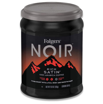 Folgers Noir Rich Satin Medium Dark Roast Coffee, 10.3 oz