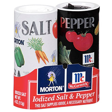 Morton Iodized Salt & Pepper Shakers, 5.25oz