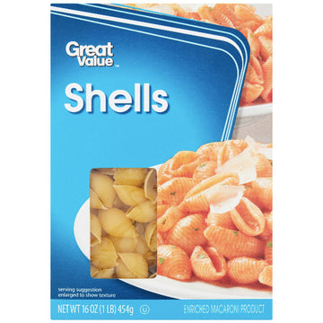 Great Value Shells Pasta, 16 oz