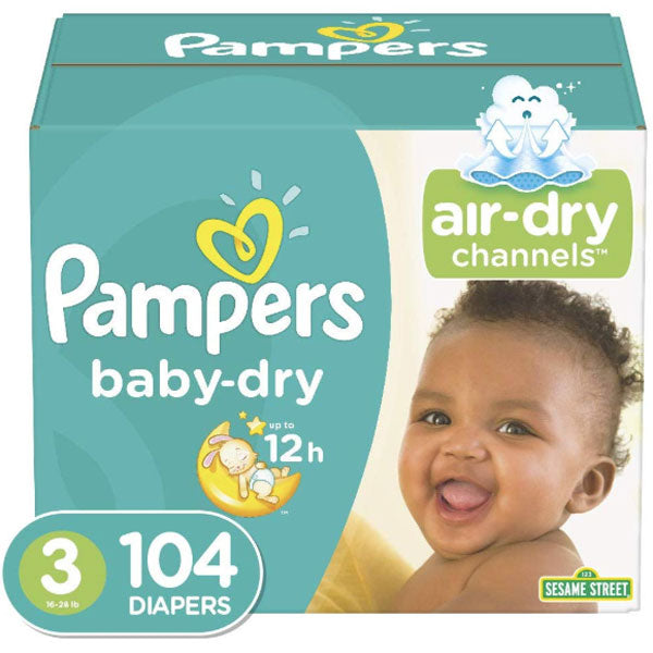 Pampers Baby Dry Jumbo Pack, Size 3 (104 Count) - Water Butlers