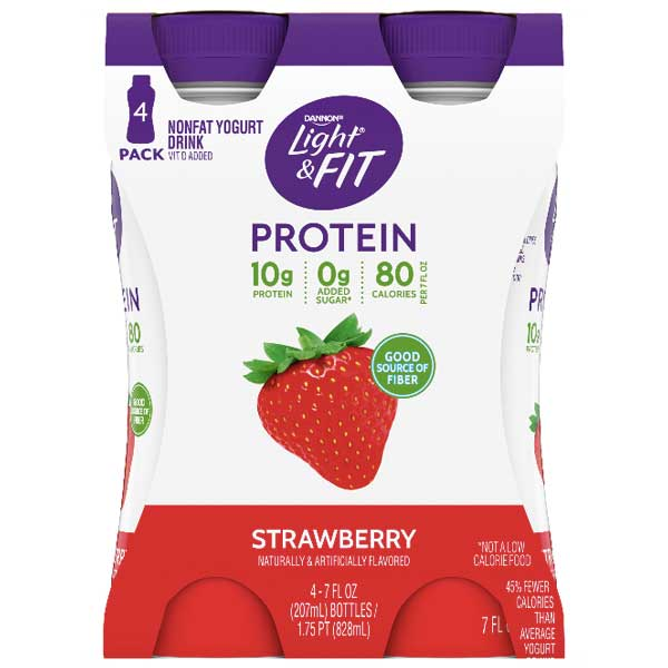 Dannon Light & Fit Strawberry Protein Yogurt Smoothies, 7 oz, 4 Ct - Water Butlers