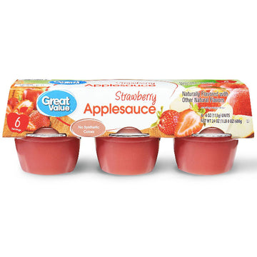 Great Value Strawberry Applesauce, 4 oz, 6 Ct