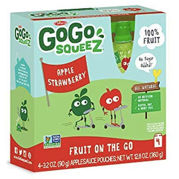 GoGo squeeZ Applesauce Strawberry 3.2oz, 4 Ct