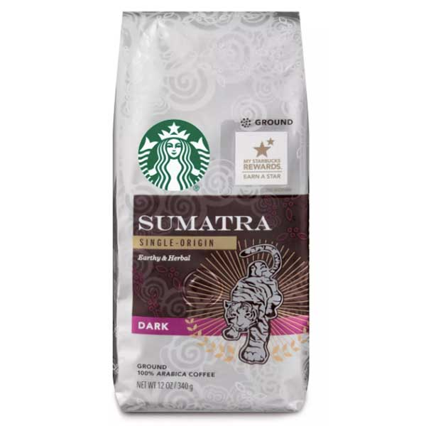 Starbucks Sumatra Dark Roast Ground Coffee, 12 oz - Water Butlers