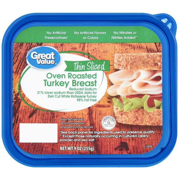 Great Value Thin Sliced Oven Roasted Turkey Breast, 9 oz - Water Butlers