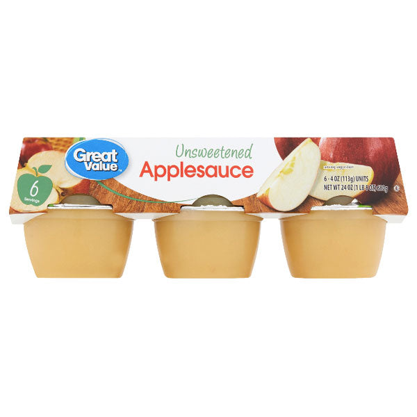 Great Value Unsweetened Applesauce, 4 oz, 6 Ct - Water Butlers
