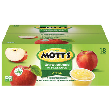 Mott's Apple Unsweetened Applesauce, 4 Oz Cups, 18 Ct
