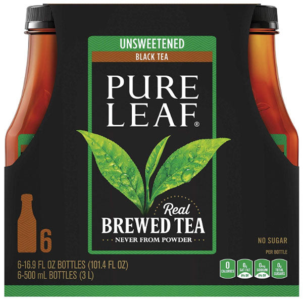 Pure Leaf Unsweetened Black Tea, 16.9 fl oz, 6 Ct - Water Butlers
