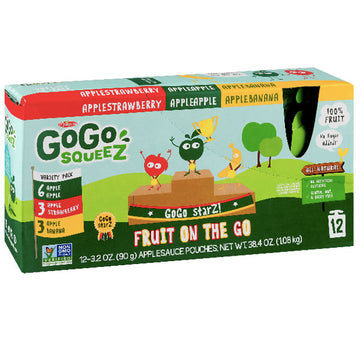 GoGo squeeZ Applesauce, Apple, Banana, Strawberry 3.2oz, 12 Ct